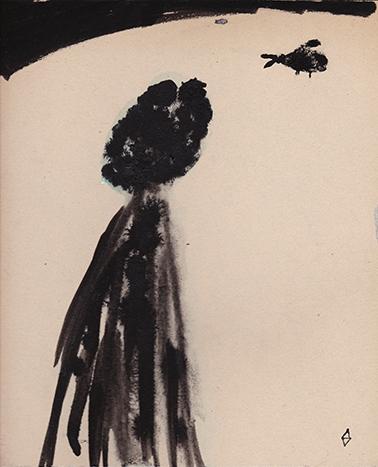 autoportrait sombre, flou, attendant le charognard