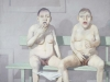 jean rustin – deux femmes sur un banc vert - 1981